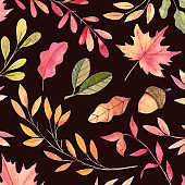 Hand drawn watercolor illustration. Background with Fall leaves. Pattern with Forest design elements. Perfect for invitations, greeting cards, blogs, prints and more