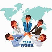 International business team in a meeting with their hands together