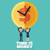 Time is money vector concept. Successful smiling business man and business woman with clock time an money symbol