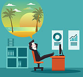 Businessman dreaming about vacation. Holidays time, recreation, travel and relaxation vector design. Beach sunset background