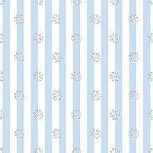 SEAMLESS SILVER SNOWFLAKE GLITTER PATTERN ON BLUE STRIPE BACKGROUND