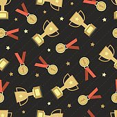 seamless champion win prize with gold medal and trophy cup pattern background