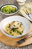 mackerel with coriander and pasta