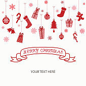 Merry Christmas Invitation Card.Christmas Greeting Card.Vector illustration