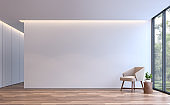 Modern white living minimal style 3d rendering image