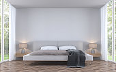 Modern styles bedroom with garden view 3d rendering image