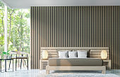 Modern bedroom decorate walls with wooden lattice 3d rendering image