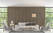 Modern living room decorate wall with wooden lattice 3d rendering image