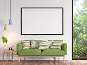 Modern white living room with blank frame 3d render image