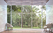 Empty room modern space with nature view 3d rendering image