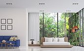 Modern white bedroom and living room with nature view 3d render image