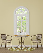Modern classic dining room with yellow color 3d rendering image