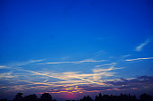 Evening sky with airplane jets' vapour trails