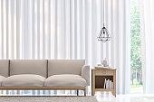 Modern white bedroom minimal style 3D rendering Image