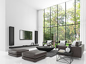 Modern white living room 3d rendering image