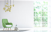 Modern white living room with green armchair 3d rendering image