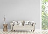 Modern vintage living room 3d rendering image