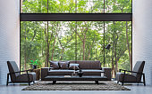 Modern loft living room with nature view 3d rendering image