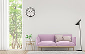 Modern white living room with pastel furniture 3d rendering image