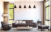 Modern living room decorate with  brown leather furniture 3d rendering image