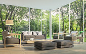 Modern living room with garden view 3d rendering Image.