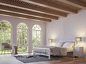 Scandinavian bedroom 3d rendering image