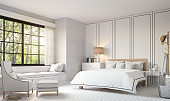 Modern vintage bedroom with black and white 3d rendering image.