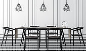 Modern vintage dining room with black and white 3d rendering image