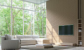 Modern Living room Decorate Wall With Brick 3D Rendering