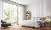 Modern vintage bedroom 3d rendering image