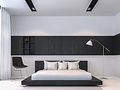 Modern black and white bedroom interior minimal style 3d rendering image