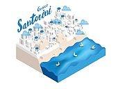 beautiful isometric style design concept of Santorini island, Greece ,the famous tourist island landmark of the world isometric design concept