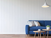 Modern white living room vintage style  3d rendering image
