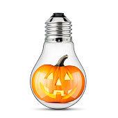 Halloween Idea. Jack O' Lantern inside a light bulb.