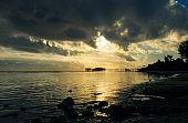 Beautiful sunrise on the ocean coast