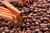 Star, anise, cinnamon and roasted coffee. Spices for cooking tasty coffee