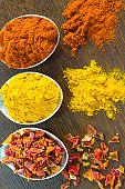 Ground spices on spoons: Red pepper, turmeric and petals of red pepper on table