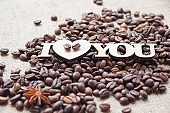 The words 'I love you' on a background spilled coffee
