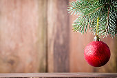 On wooden background Christmas decor.