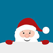 Christmas Card with Santa Claus on blue background. Vector