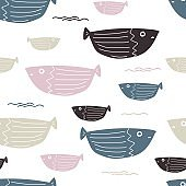 Seamless sea fishes simple pattern.