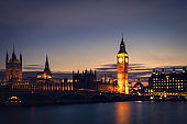Big Ben, Houses of Parliament and Westminster Bridge during the blue hour. London, UK
