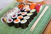 Sushi set in restaurant