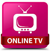 Online tv pink square button red ribbon in middle