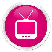 TV  icon premium pink round button