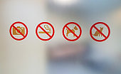 Prohibition signs on the glass and background