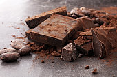 Raw cocoa beans, cocoa powder and chocolate pieces