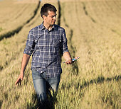 Farmer walking in barley field