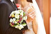 loving bride and bridegroom at wedding ceremony