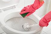 Scrubbing toilet